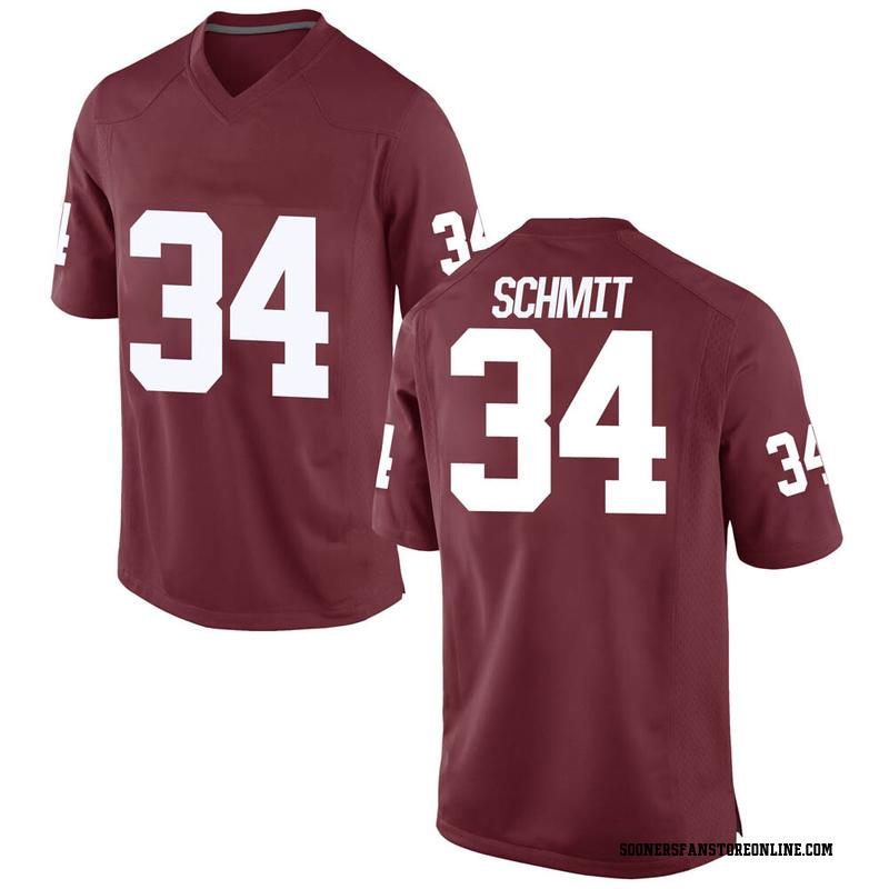 Game Men's Zach Schmit Oklahoma Sooners Crimson Football College Jersey